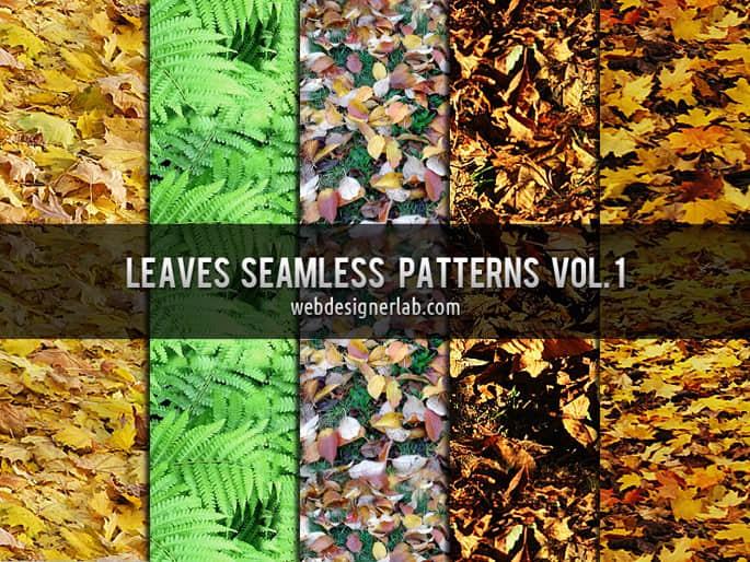 树叶、枫叶、枯叶、落叶、绿叶、梧桐叶等Photoshop填充图案文件底纹素材 .pat #.1