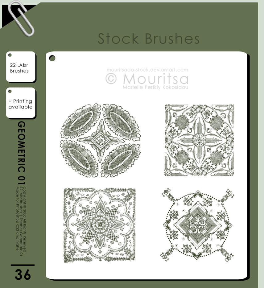 繁复漂亮的民族式花纹图案photoshop笔刷素材