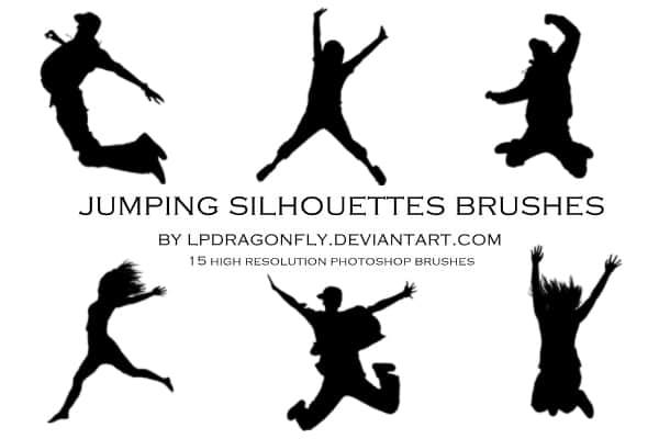 跳跃、飞跃人物剪影photoshop笔刷素材