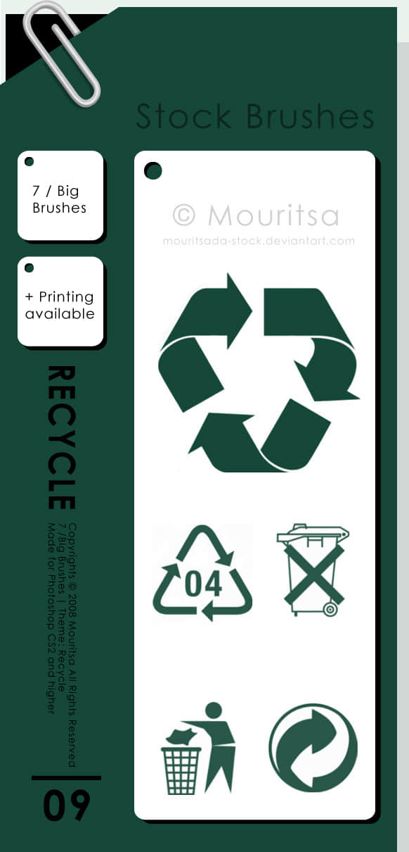 绿色环保回收标志图案PS笔刷素材