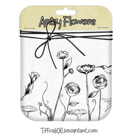 简单的手绘鲜花花朵PS笔刷素材免费下载