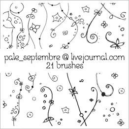 小清新线条花纹photoshop笔刷素材