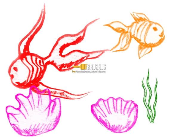 蜡笔、彩笔涂鸦金鱼photoshop笔刷下载