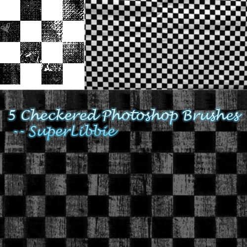5种不同效果的黑白格子背景图案PS笔刷素材 格子笔刷  background brushes