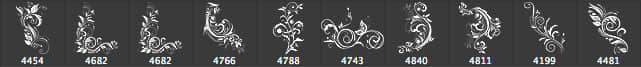 10种漂亮繁杂的优雅植物艺术花纹图案photoshop笔刷