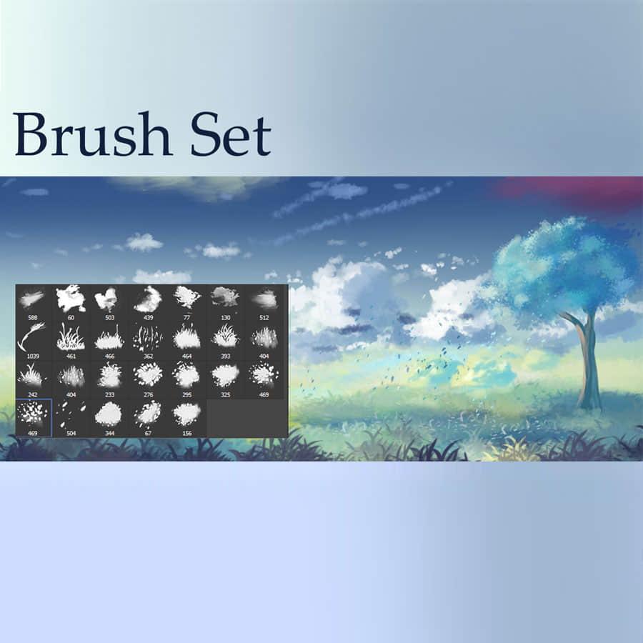 漂亮的CG式云朵、青草、树木、树叶等photoshop笔刷素材 草地笔刷 白云笔刷 树木笔刷 树叶笔刷 插画笔刷 CG笔刷  photoshop brush plants brushes cloud brushes