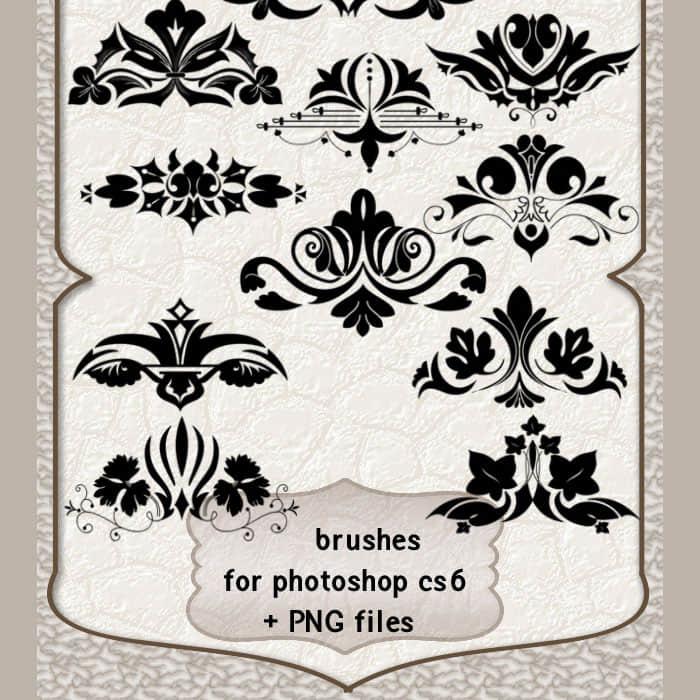美丽的艺术系植物花纹装饰photoshop笔刷素材