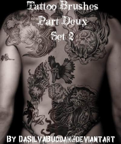 西方魔幻世界纹身、刺青photoshop笔刷素材 纹身笔刷 刺青笔刷  adornment brushes characters brushes