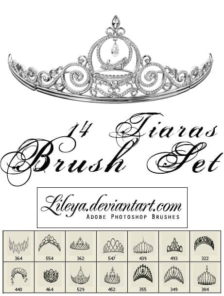 14种漂亮的选美皇冠、女式皇冠、女性头饰photoshop笔刷素材