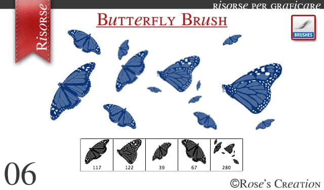 简单彩蝶、蝴蝶素材PS笔刷下载 蝴蝶笔刷  insects brushes