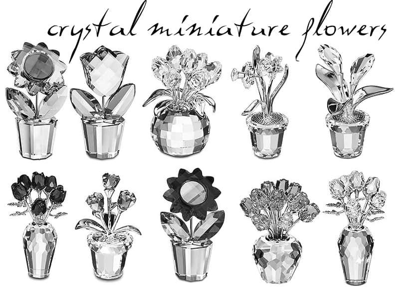 漂亮的水晶花朵盆栽工艺品photoshop笔刷素材免费下载