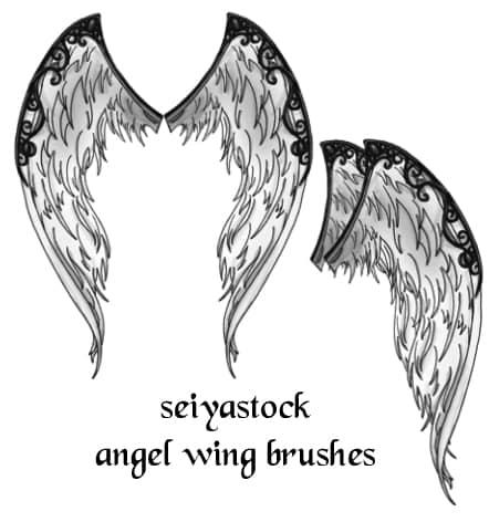 恶魔羽翼翅膀photoshop素材笔刷 #.1 翅膀笔刷 恶魔笔刷  wings brushes