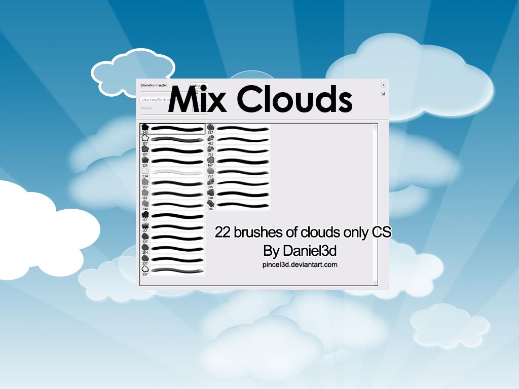 22种漂亮的卡通白云、云彩、蓝天白云效果photoshop笔刷免费下载