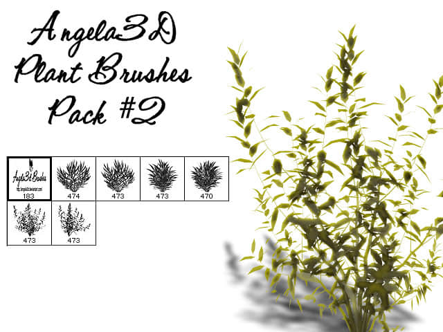 CG式灌木丛photoshop笔刷素材 #.2 灌木丛笔刷 CG笔刷  plants brushes