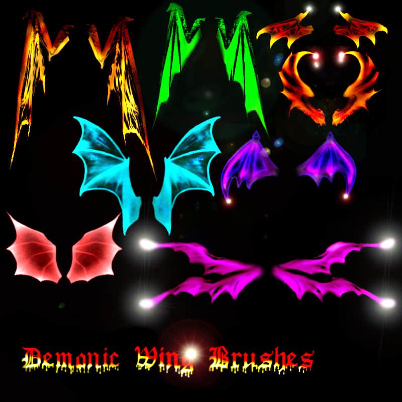 光影地狱恶魔、蝙蝠魔鬼photoshop翅膀素材笔刷 蝙蝠翅膀笔刷 恶魔翅膀笔刷 恶魔笔刷  wings brushes