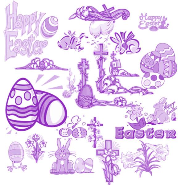 复活节彩蛋涂鸦、节日装饰图案photoshop笔刷