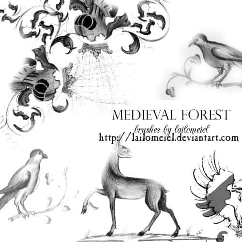 中世纪油画动物图案photoshop笔刷素材下载