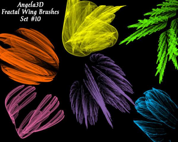 酷酷的光影分形翅膀photoshop笔刷素材#.10