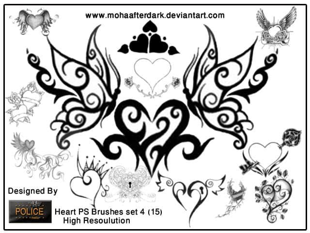 超级漂亮的植物艺术花纹之蝴蝶photoshop笔刷