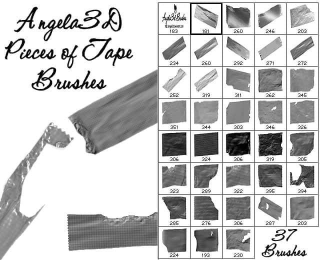 37种撕裂的胶带、胶布、油质、玻璃纸photoshop笔刷素材