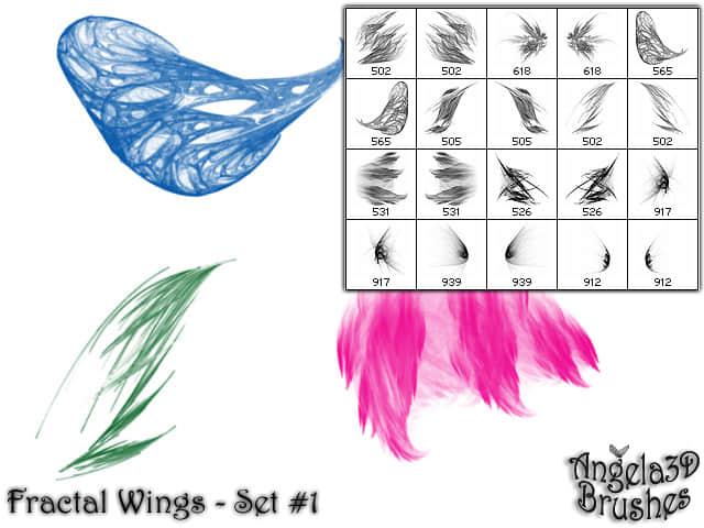 酷酷的光影分形翅膀photoshop笔刷素材#.3