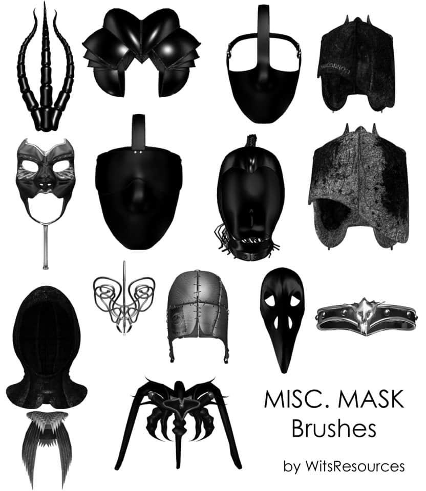 怪异的各色铁艺面具photoshop笔刷素材下载