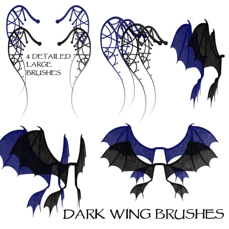 恶魔魔鬼蝙蝠翅膀photoshop笔刷素材 魔鬼笔刷 蝙蝠笔刷 恶魔笔刷  wings brushes
