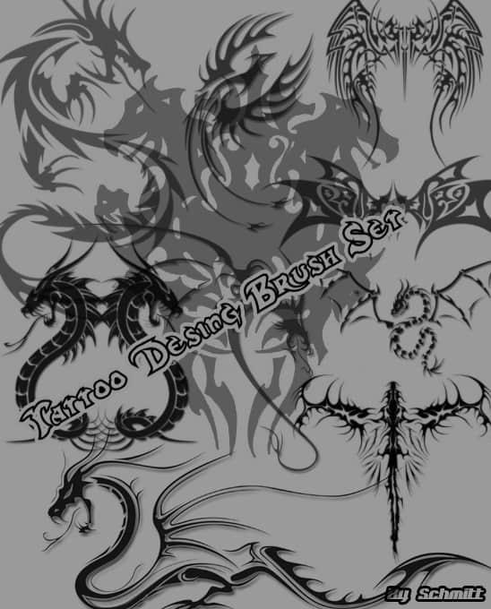 酷炫中西方龙纹身、龙刺青、龙纹饰图案photoshop笔刷素材下载