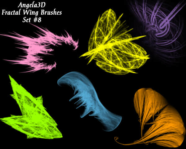 酷酷的光影分形翅膀photoshop笔刷素材#.8 分形翅膀笔刷 分形笔刷 光影翅膀笔刷 光影笔刷  wings brushes
