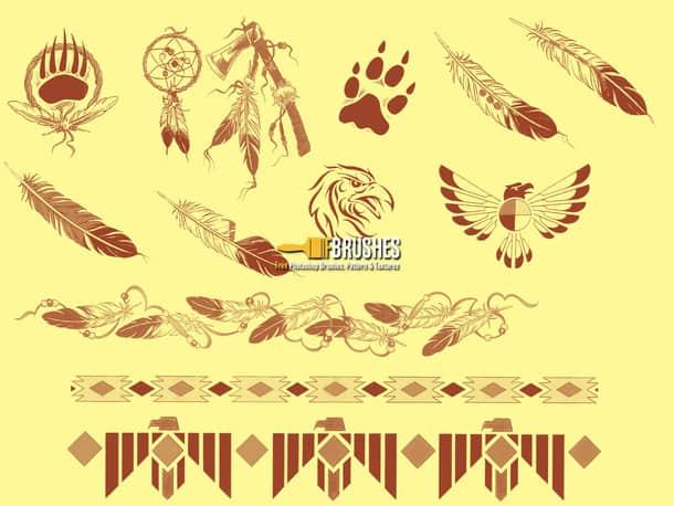 印第安土著部落装饰品photoshop笔刷素材