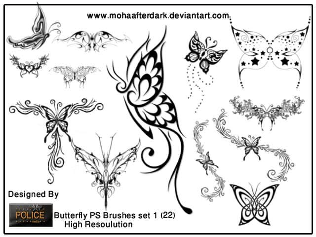 绝美的蝴蝶艺术花纹装饰图案photoshop笔刷素材