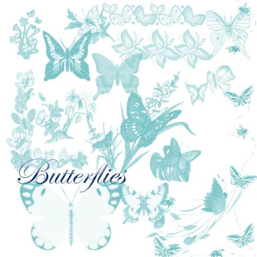 光影蝴蝶、彩蝶图案photoshop笔刷下载