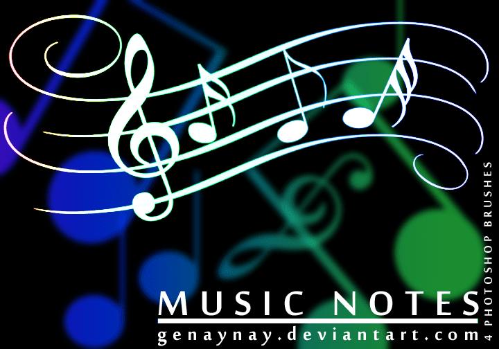 简单的音乐、音符装饰花纹photoshop笔刷素材