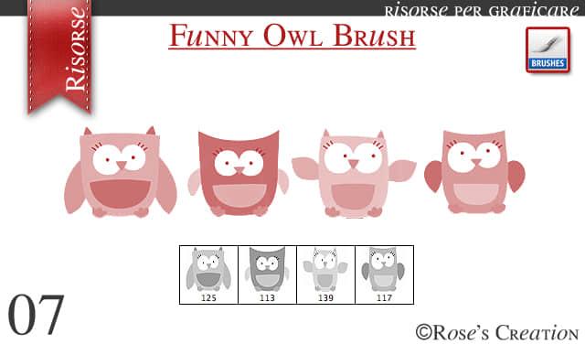 简单可爱的卡通猫头鹰PS笔刷素材下载
