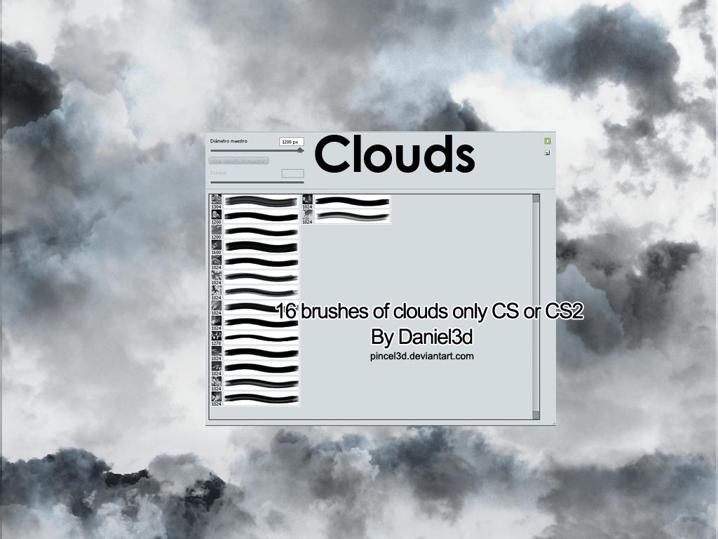 16种积雨云、乌云、下雨天空photoshop笔刷素材 天空笔刷 乌云笔刷 下雨云朵笔刷  cloud brushes