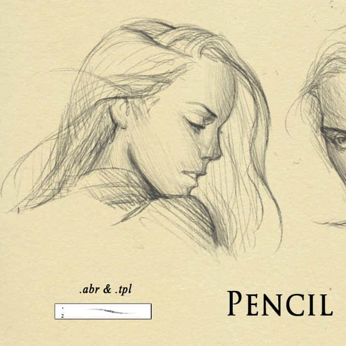 细致的铅笔素猫类笔触PS笔刷画笔