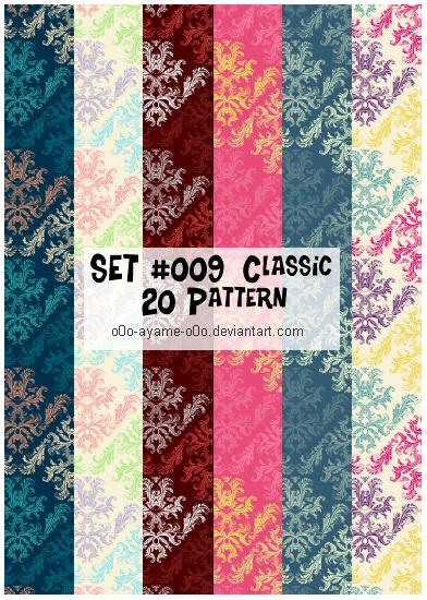 20种不同样式的古典艺术花纹PS填充素材下载