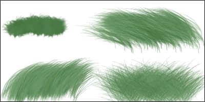 细腻的青草CG笔触Photoshop笔刷素材下载 青草笔刷 CG笔刷 CG画笔  photoshop brush plants brushes