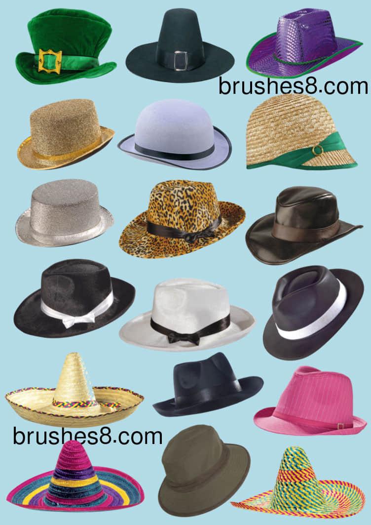 已扣!18顶时尚靓丽帽子PNG美图秀秀素材包下载