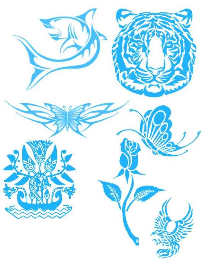 鲨鱼、虎头、蝴蝶、图腾花纹等纹饰纹身图案PS笔刷素材