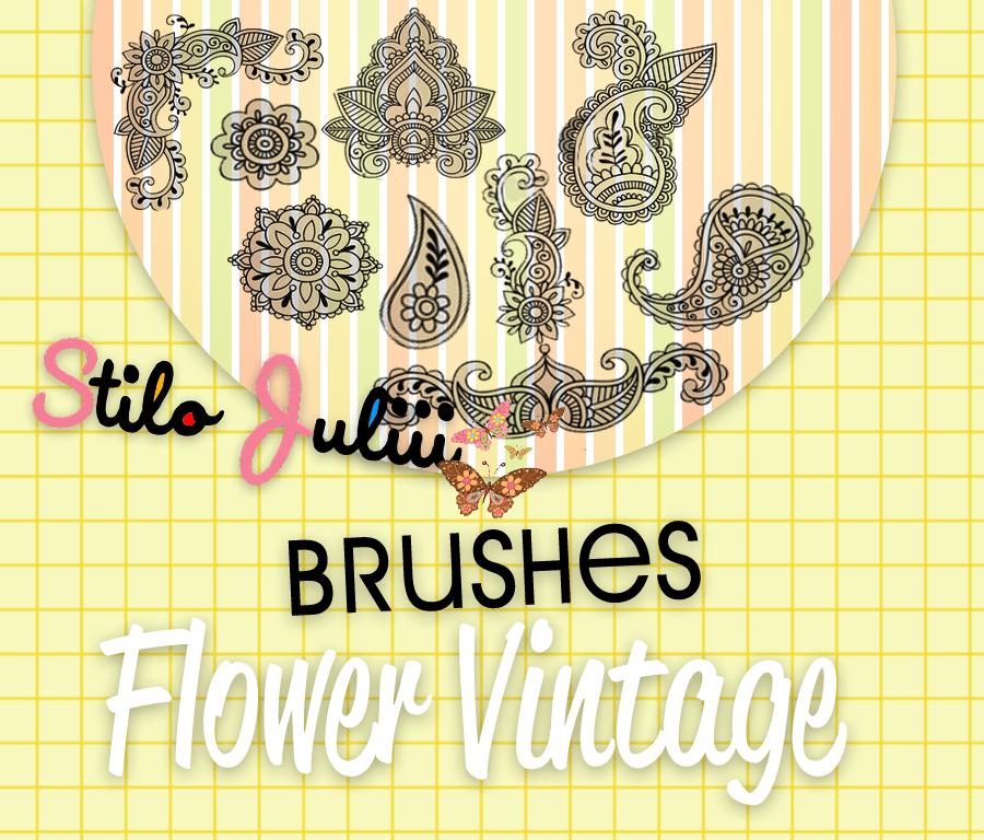 漂亮的手绘艺术花纹图案PS笔刷素材免费下载 手绘花纹笔刷  flowers brushes