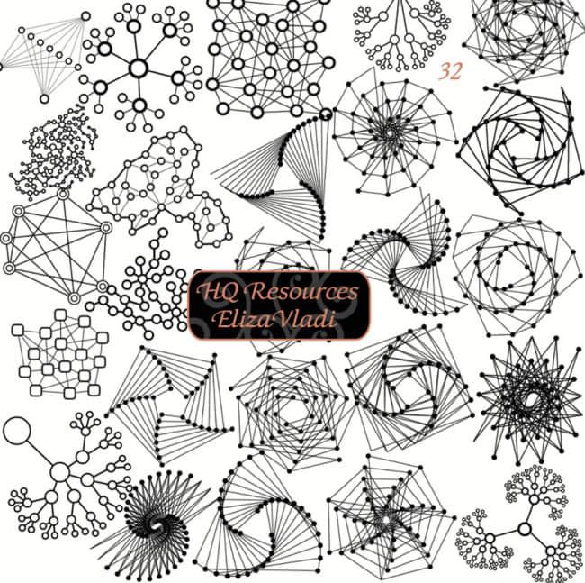 奇异分子方程式式组合模型图案Photoshop笔刷素材下载