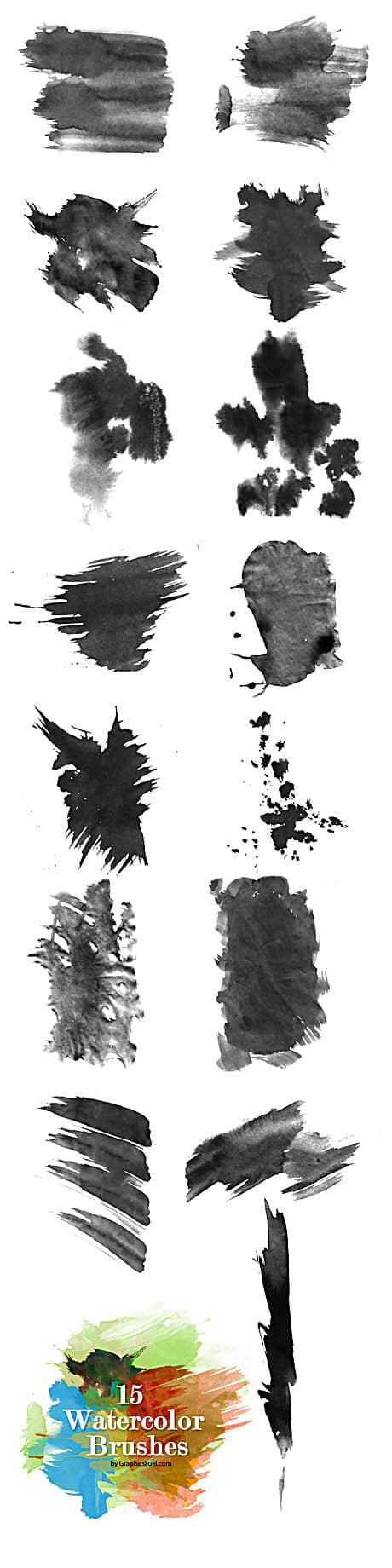 高清水墨、油漆痕迹刷子印迹PS笔刷素材下载