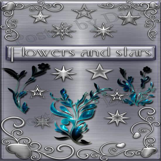 3个植物花纹与星星图案PS笔刷素材