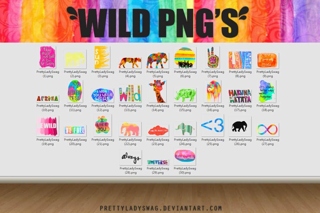七彩野生动物王国图案美图秀秀素材包