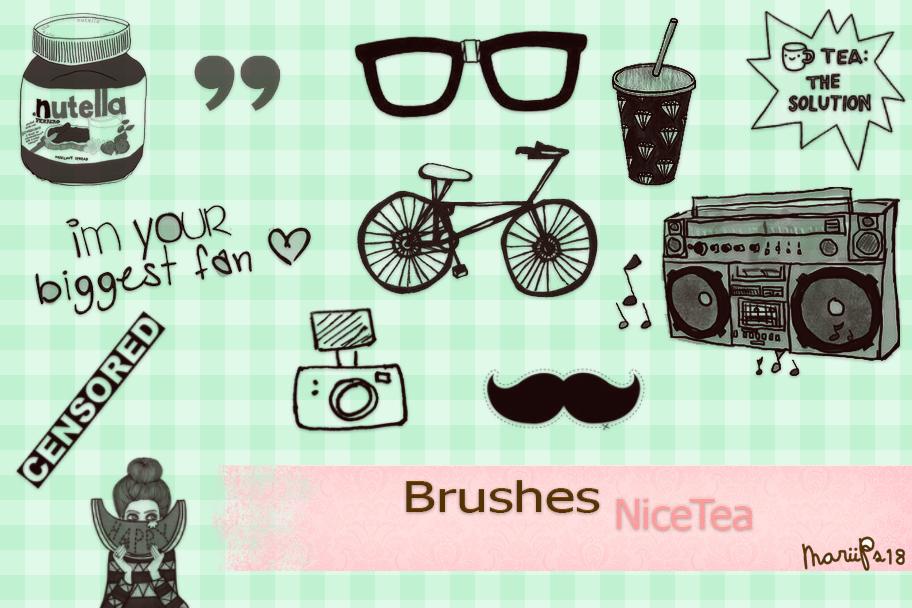 卡通眼镜、自行车、录音机、胡子、饮料等PS笔刷素材下载