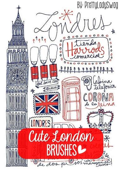 可爱的伦敦线条涂鸦PS笔刷素材 线条涂鸦素材 照片装饰笔刷 伦敦涂鸦笔刷  %e6%b6%82%e9%b8%a6%e7%ac%94%e5%88%b7 %e5%8d%a1%e9%80%9a%e7%ac%94%e5%88%b7