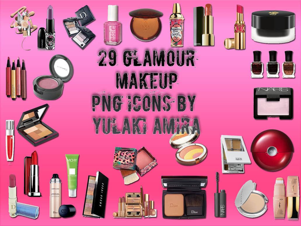 29种睫毛刷、唇膏、化妆盒、粉底盒等化妆品美图秀秀素材包下载