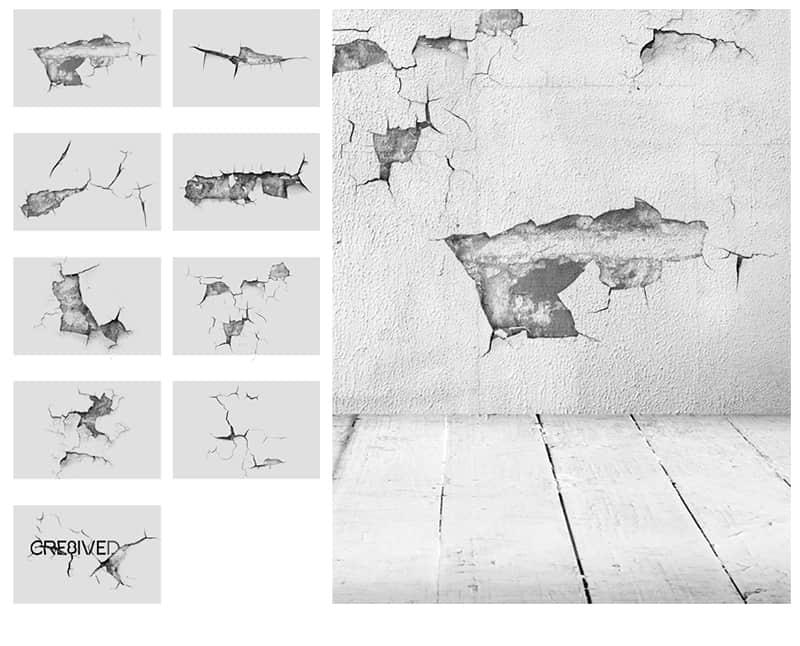 墙壁裂纹、破旧的石灰墙壁纹理效果Photoshop笔刷素材下载