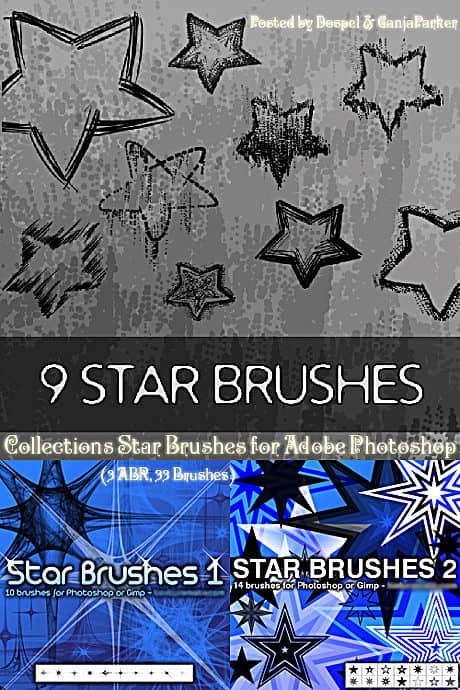 3个五角星、星星符号印记素材Photoshop笔刷打包下载 星星笔刷 五角星笔刷  adornment brushes symbols brushes